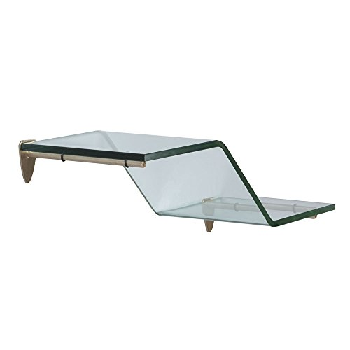 Shelf-Made KT-0134-618ZSN Wave Glass Shelf Kit, Satin Nickel, 6-Inch by 18-Inch