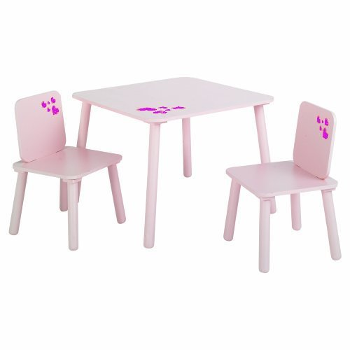 KIDS Room Furniture: Pretty Pink Purple hearts Children's Girl's Wooden 2 x Chairs and Table Desk Set