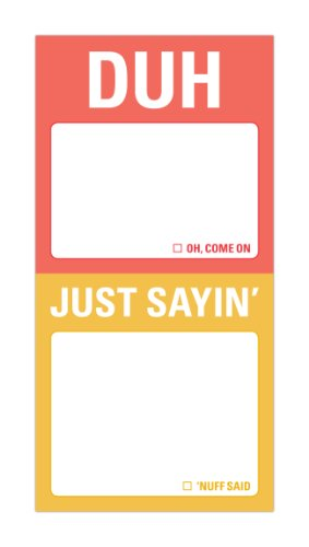Knock Knock Mini Sticky Notes 2-Pack, Duh And Just Sayin'