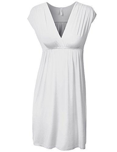 J.Tomson Womens Short Sleeve V-Neck Jersey Dress White Medium