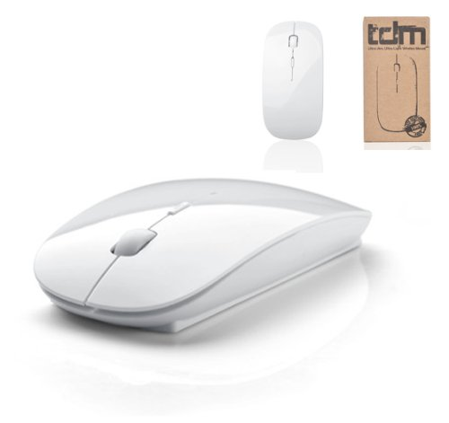 tedim® - Ultra Slim/Small Wireless White Optical Mouse for Apple Mac Book, Windows PC, Laptop - Micro USB, 3 Button