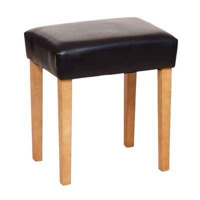 Upholstered Bedroom Stool - Black Faux leather with Light Wood Legs