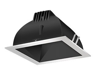 Rab Lighting Ndled4S-Wyn-B-S Led Trim Mod- 4 Square 35K Wall Wash Silver Ring With Black Cone