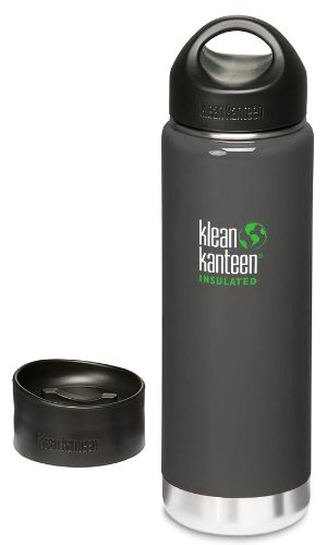 Klean Kanteen Wide Mouth Insulated Bottle With 2 Caps (Stainless Loop Cap And Cafe Cap) - Albatross Gray 20 Oz. front-1028490