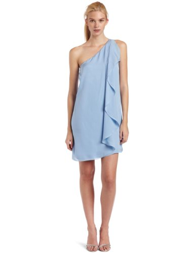 Halston Heritage Women's Asymmetric Ruffle Cocktail Dress, Neptune, 4