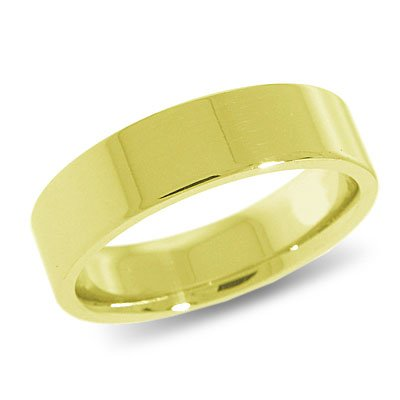 10K Yellow Gold, Flat Comfort Fit Wedding Band 6MM (sz 14.5)