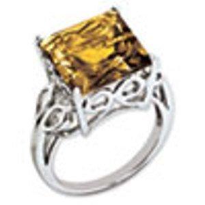 Sterling Silver Genuine Whiskey Quartz Ring