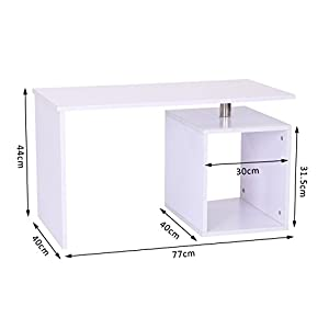 HOMCOM End Table Home Office Storage Display Computer Desk Cabinet Stand White