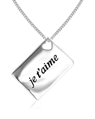 Lily and Lotty Collar Je T'Aime' Love Letters 0.01 ct Diamond