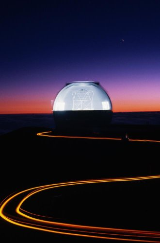Keck Telescope At Sunset Wall Decal - 72 Inches H X 48 Inches W - Peel And Stick Removable Graphic