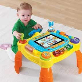 The iDiscover Activity Table has a safe and secure iPad case that fits perfectly into the center the activity table.