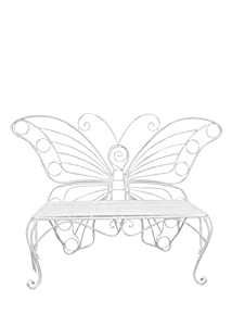 Hi-Line Gift Garden Décor Butterfly Bench, 60 by 18 by 42-Inch, White