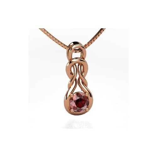 Forget Me Knot Pendant, Round Red Garnet 14K Rose Gold Necklace