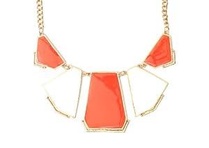 Enamel Plate Panels Bib Necklace Modern NK01 Geometric Art Deco White Orange Shapes Collar