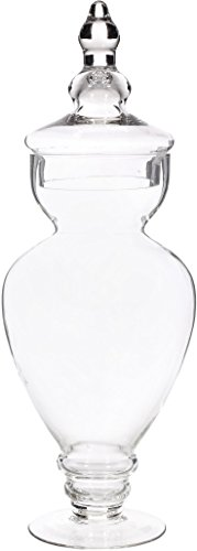 Elegant Clear Glass Apothecary Jar with Lid - High Glass Canister - Home Decor & Party Centerpiece (Apothecary Candy Jars)