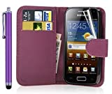 New Leather Wallet Flip Case Cover Pouch for Samsung Galaxy ACE 2 II GT-i8160 WITH FREE SCREEN GUARD + STYLUS PEN (Purple)