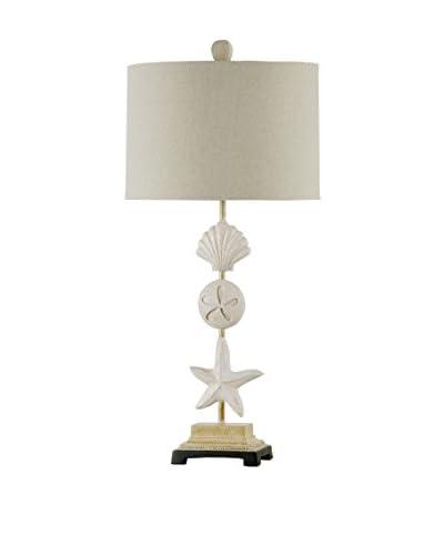 StyleCraft Coastal Seaside 1-Light Table Lamp, Sand Stone