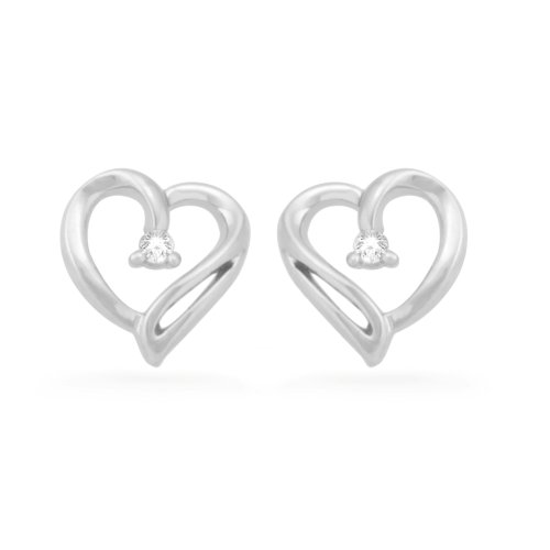 Sterling Silver Round Diamond Heart Earring (0.04 cttw)