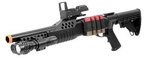 Airsoft Shotgun Pump w/ Shells - Flashlight - Red Dot