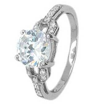 Sterling Silver Solitaire Engagement Ring With Round Cubic Zirconia On Four Prong Setting