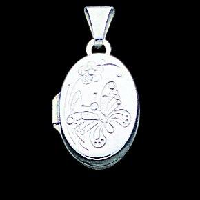 Sterling Silver Butterfly Oval Locket