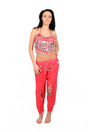 Beaded Top & Harem Pants Belly Dance Costume (Fuchsia/Silver) [Apparel]