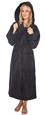 Arus Women's Robe with Hood Turkish Terry Cotton Hooded Bathrobe, L, Black