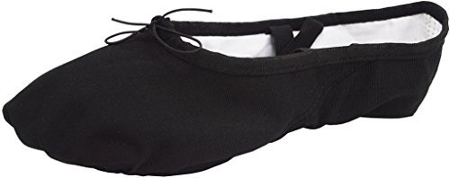 David & Mary Women's Ladies Canvas Split Sole Ballet Slipper Yoga Dance Shoes (7 B (M) Women, Black)
