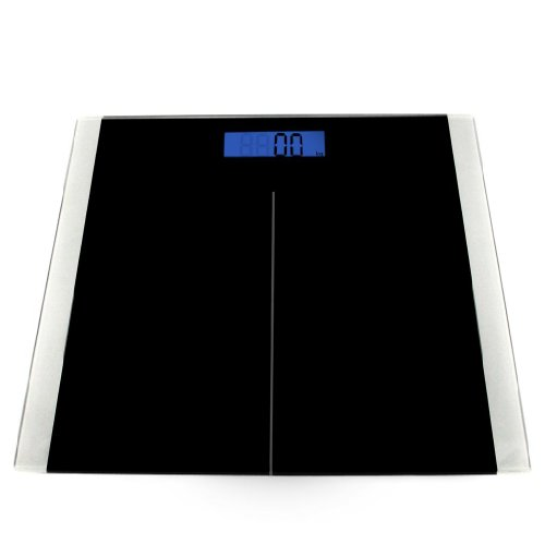 Etekcity® High Precision 180kg/400lb Digital Bathroom Scale with Step-on Technology high-precision strain gauge sensors system backlit display tempered glass surface(Batteries Included)