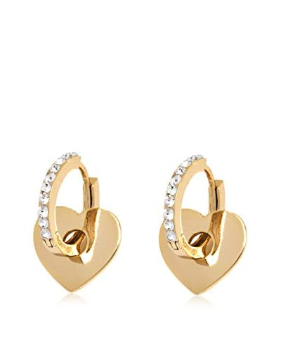 Barzel 18K Gold-Plated Heart Huggie Earrings with Swarovski Elements