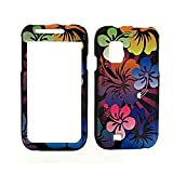 Samsung Fascinate I500 I-500 Black with Multicolor Hibiscus Floral Flowers Design Snap-On Hard Protective Cover Case Cell Phone + Free Additional High Quality Screen Shield Protector