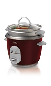 Oster CKSTRCMS10-R 10-Cup (Cooked) Rice Cooker with Steam Tray, Red
