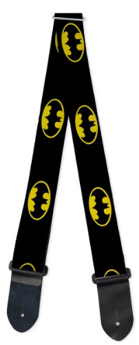 Dc Comic Theme Nylon Guitar Strap - Batman Shield Black & Yellow