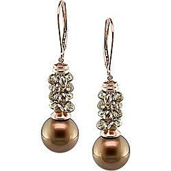 14k Gold Pearl 5 3/4ct TDW Brown Diamond Earrings (10-11 mm)
