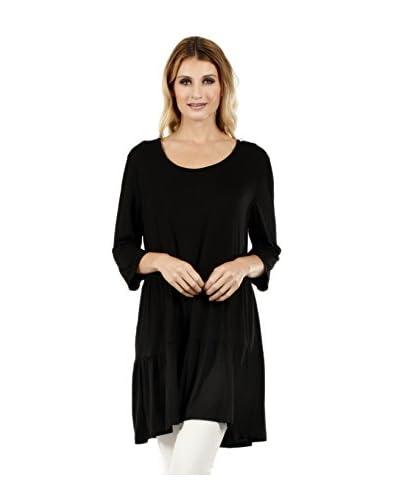 Simply Aster Women's 3/4 Sleeve Ruffle Bottom Tunic
