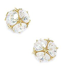 14ct Yellow Gold CZ Medium Ball Fancy Post Earrings - Measures 8x8mm