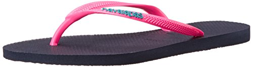 Havaianas Women's Slim Logo Pop Up Sandal Flip Flop, Navy Blue/Pink, 38 BR/7/8 M US