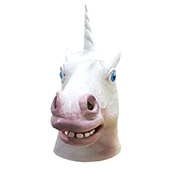Comemal Creepy Horse Head Mask Latex Animal Costume Prop Toys Party Halloween