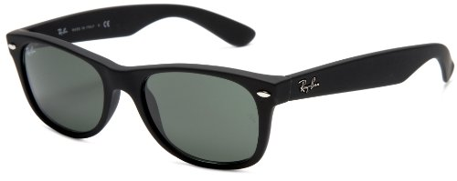 Ray-Ban RB2132 New Wayfarer  Sunglasses, Black Frame/Green Lens, 52 mm