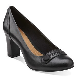 Clarks Women's Tamryn Cider Pump,Black Leather,11 W US