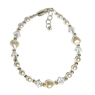 LDS Girls Beautiful sterling silver baptism bracelet for that special occasion featuring pearl hearts and shimmering lead-free crystals! This is adjustable in length 6-6 1/2