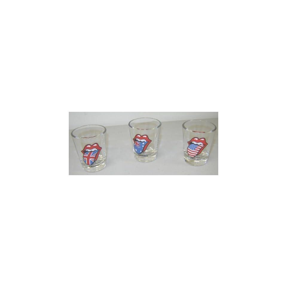 Rolling Stones Mick Jagger Tongues 3 Shot Glasses Glass Set