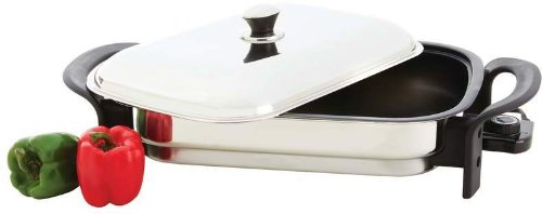 """16"""" Rectangular Non-Stick T304 Stainless Steel Electric Skillet"""