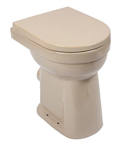 Stand-WC-Set liDano +10 cm | Erhöhtes WC | Hoch | 10 cm | Beige | Inklusive WC-Sitz | Für Senioren und große Menschen | Flachspüler | Abgang waagerecht | Toilette | Klo | Stand-WC | Keramik
