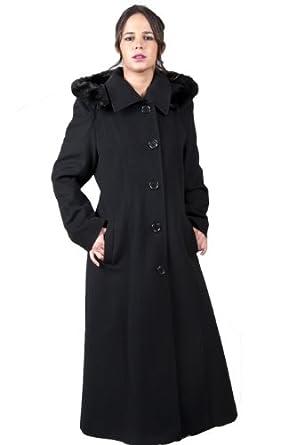 De la Creme - Manteau Femme Laine Noire Ruban Bordure Fausse Fourrure Coupe Longue Taille : 38 - 54 - Noir, 40