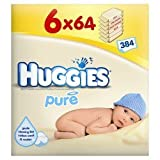 Huggies Pure Wipes 64s - 6 packs of 64 wipes