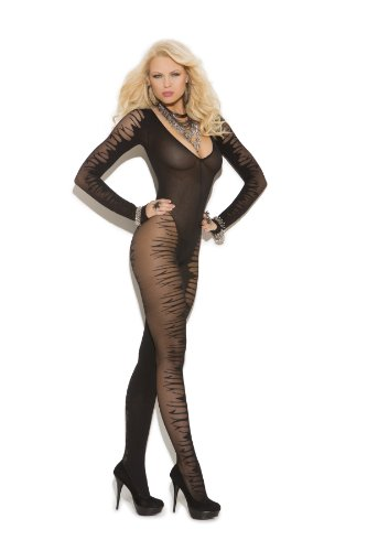 Vivace Womens Black Fire Crotchless Cat Suit Bodystocking
