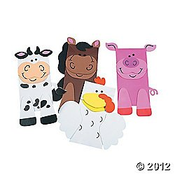 12 Farm Animal Puppets Paper Bag Craft Kit front-1069812