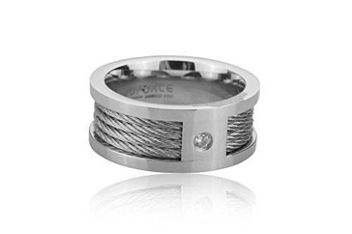 [253-0217-R-11-SLV] Stainless Steel Ring with Wire Inlay