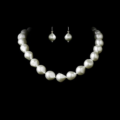 White Bridal Wedding Necklace Earring Set